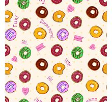Beautiful vector seamless pattern with colorful donuts Photographic Print