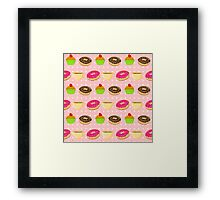 Seamless pattern with colorful donuts, muffins and teacups Framed Print