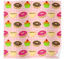 Seamless pattern with colorful donuts, muffins and teacups Poster