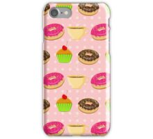 Seamless pattern with colorful donuts, muffins and teacups iPhone Case/Skin