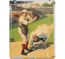 Baseball, Runner Sliding past catcher, early 1900s iPad Case/Skin