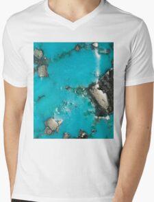 Turquoise & Gold Mens V-Neck T-Shirt