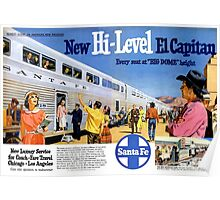 Chicago-New Mexico-Los Angeles, El Capitan Hi-Level Big Dome Luxury, Santa Fe Train Travel, 1950s Poster
