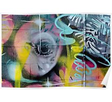 Colorful Graffiti on the textured wall Poster