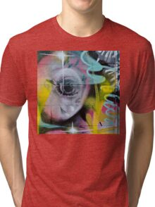 Colorful Graffiti on the textured wall Tri-blend T-Shirt