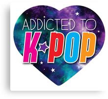 Addicted to k-pop (with cute starry sky heart) Canvas Print