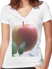 Apple rising above... Women's Fitted V-Neck T-Shirt