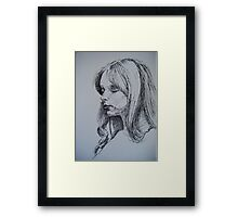 Inktober Portrait Profile Sketch Framed Print