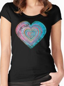 Distressed rainbow heart Women's Fitted Scoop T-Shirt