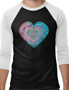 Distressed rainbow heart Men's Baseball ¾ T-Shirt