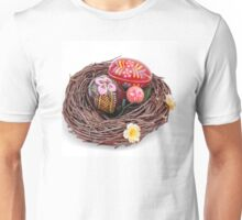 hand painted easter eggs in nest Unisex T-Shirt