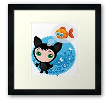 Cute funny kitten with fish vector illustration Framed Print