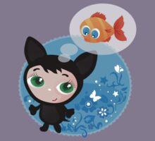 Cute funny kitten with fish vector illustration Kids Tee