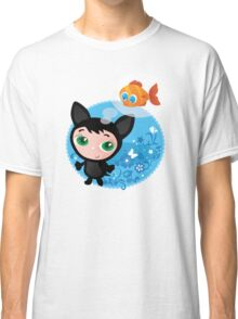 Cute funny kitten with fish vector illustration Classic T-Shirt