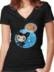 Cute funny kitten with fish vector illustration Women's Fitted V-Neck T-Shirt