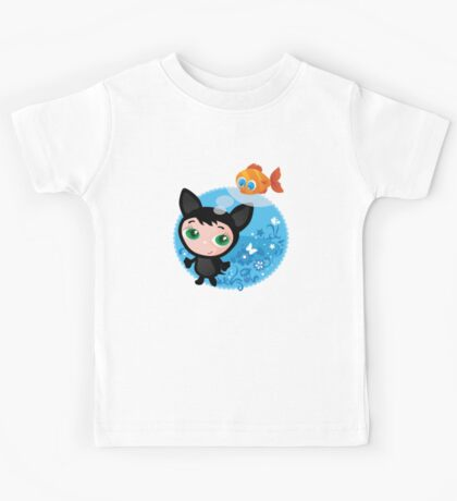 Cute funny kitten with fish vector illustration Kids Tee
