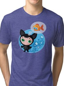 Cute funny kitten with fish vector illustration Tri-blend T-Shirt