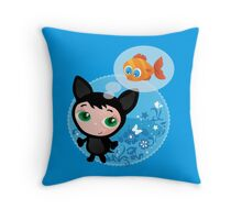 Cute funny kitten with fish vector illustration Throw Pillow