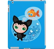 Cute funny kitten with fish vector illustration iPad Case/Skin