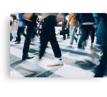 Blurred Legs of People Crossing Shibuya Crossing in Tokyo Canvas Print