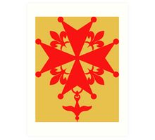 Huguenot Cross in reddish orange Art Print