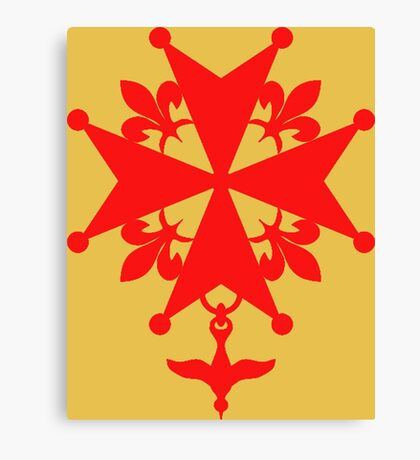 Huguenot Cross in reddish orange Canvas Print