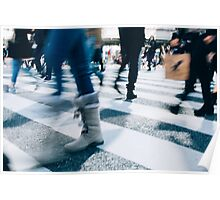 Blur of People Crossing Shibuya Crossing in Tokyo Poster
