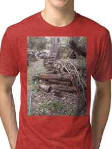 The Log Pile With Orange Cord Tri-blend T-Shirt