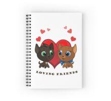 Cute kitten and kitty illustration Spiral Notebook
