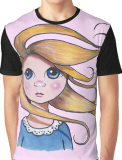 Big-Eyed Girl on Windy Day, Whimsical Art, Pink Graphic T-Shirt