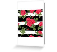 Seamless flower red roses pattern with horizontal stripes Greeting Card