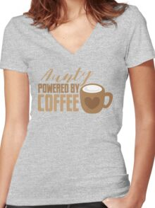 Aunty powered by COFFEE Women's Fitted V-Neck T-Shirt