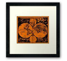 Vintage Map of The World (1685) Black & Orange  Framed Print