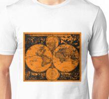 Vintage Map of The World (1685) Black & Orange  Unisex T-Shirt