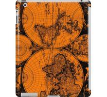 Vintage Map of The World (1685) Black & Orange  iPad Case/Skin