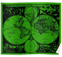 Vintage Map of The World (1685) Black & Green  Poster