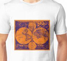 Vintage Map of The World (1685) Purple & Orange  Unisex T-Shirt