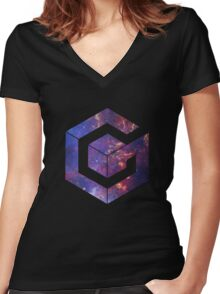 Galaxy Cube Women's Fitted V-Neck T-Shirt