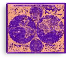 Vintage Map of The World (1685) Tan & Purple Canvas Print