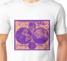 Vintage Map of The World (1685) Tan & Purple Unisex T-Shirt