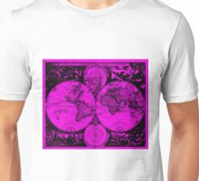 Vintage Map of The World (1685) Black & Pink Unisex T-Shirt