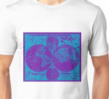 Vintage Map of The World (1685) Blue & Purple Unisex T-Shirt