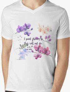 Paint Flowers Mens V-Neck T-Shirt