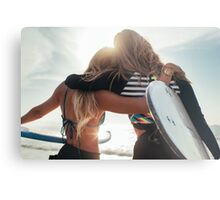Rio de Janeiro - Two Sexy Female Surfer Girls Holding Surfboards and Hugging Each Other Metal Print