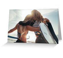 Rio de Janeiro - Two Sexy Female Surfer Girls Holding Surfboards and Hugging Each Other Greeting Card