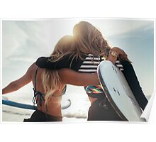 Rio de Janeiro - Two Sexy Female Surfer Girls Holding Surfboards and Hugging Each Other Poster