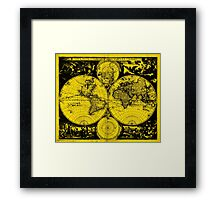 Vintage Map of The World (1685) Black & Yellow  Framed Print