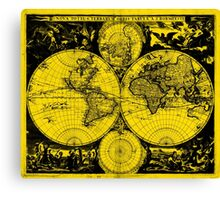 Vintage Map of The World (1685) Black & Yellow  Canvas Print