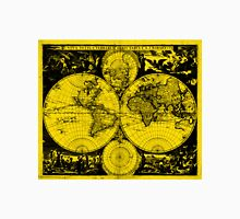 Vintage Map of The World (1685) Black & Yellow  Unisex T-Shirt
