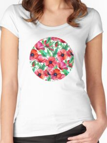 Plenty of Poppies – white Women's Fitted Scoop T-Shirt